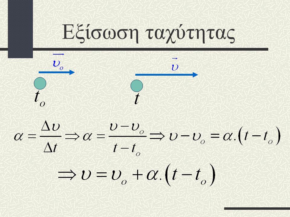 Εξίσωση ταχύτητας Η επιτάχυνση είναι σταθερή επομένως :