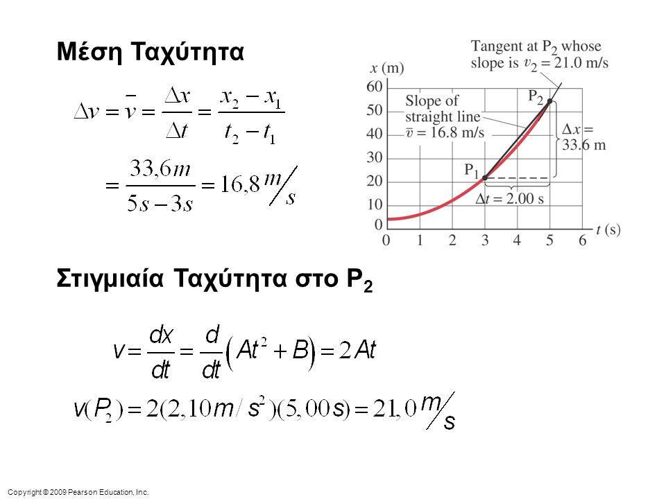 Copyright © 2009 Pearson Education, Inc. Μέση Ταχύτητα Στιγμιαία Ταχύτητα στο P 2