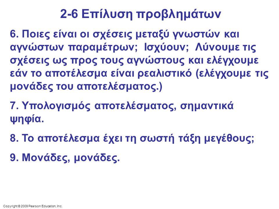 Copyright © 2009 Pearson Education, Inc. 6. Ποιες είναι οι σχέσεις μεταξύ γνωστών και αγνώστων παραμέτρων; Ισχύουν; Λύνουμε τις σχέσεις ως προς τους α