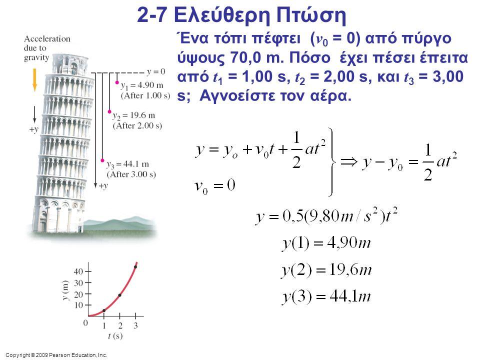 Copyright © 2009 Pearson Education, Inc. Ένα τόπι πέφτει ( v 0 = 0) από πύργο ύψους 70,0 m. Πόσο έχει πέσει έπειτα από t 1 = 1,00 s, t 2 = 2,00 s, και
