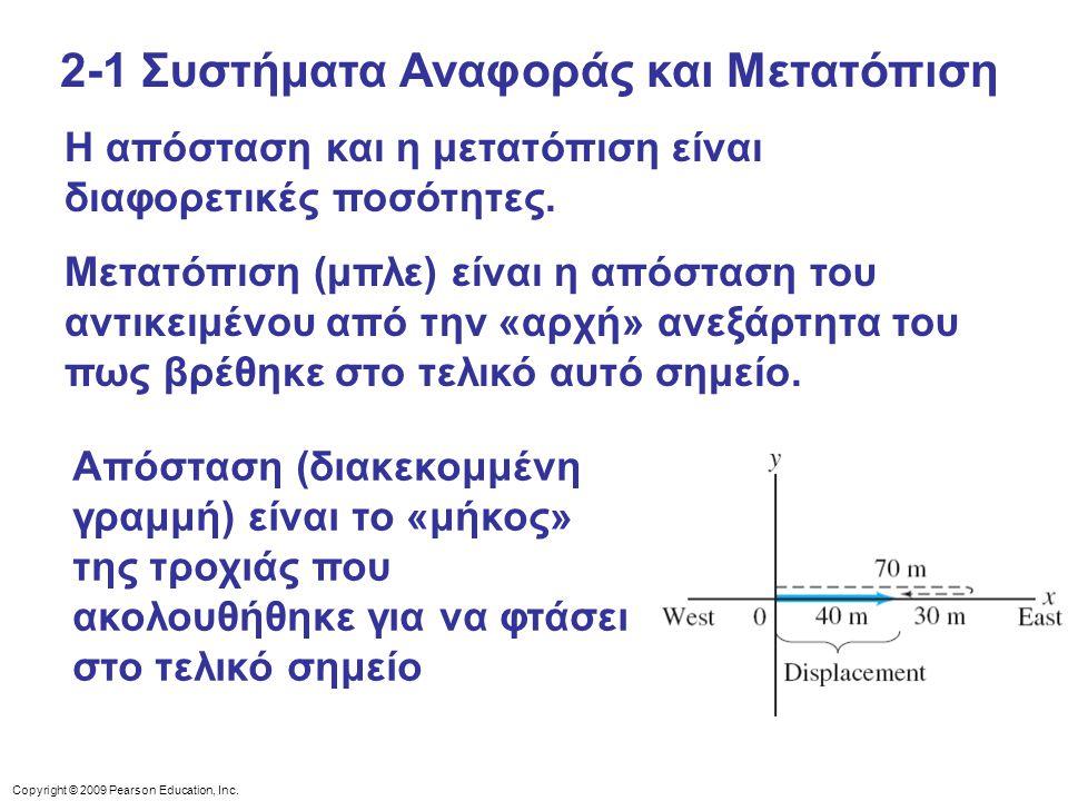 Copyright © 2009 Pearson Education, Inc. Η απόσταση και η μετατόπιση είναι διαφορετικές ποσότητες. Μετατόπιση (μπλε) είναι η απόσταση του αντικειμένου