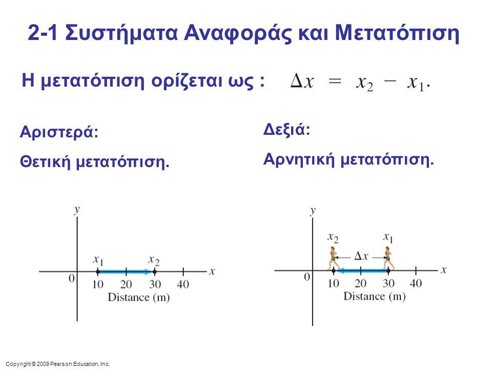 Copyright © 2009 Pearson Education, Inc. Η μετατόπιση ορίζεται ως : Αριστερά: Θετική μετατόπιση. Δεξιά: Αρνητική μετατόπιση. 2-1 Συστήματα Αναφοράς κα