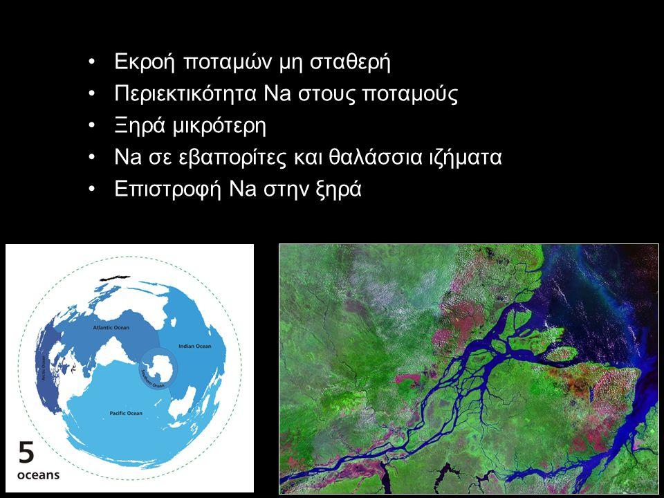 Εκροή ποταμών μη σταθερή Περιεκτικότητα Na στους ποταμούς Ξηρά μικρότερη Na σε εβαπορίτες και θαλάσσια ιζήματα Επιστροφή Na στην ξηρά
