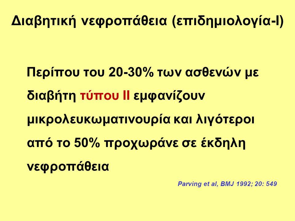 Άπαξ και εμφανισθεί μακρολευκωματινουρία αναμένεται πτώση του GFR περίπου κατά 10% ετησίως (τελικό στάδιο ΧΝΑ μέσα σε 7 χρόνια) Parving, Kidney Int 2001;60: 2041-2055 Ritz E et al, Nephrol Dial Transplant 2001; 16: 11-18 Evans TC & Capell P, 2000 Σε διαβητικούς τύπου 1, απ' αυτούς που θα εμφανίσουν νεφροπάθεια (40%), τελικό στάδιο εμφανίζει το 50% μέσα σε 10 χρόνια και το 75% μέσα σε 20 χρόνια χωρίς καμία ιατρική παρέμβαση Διαβητική νεφροπάθεια (επιδημιολογία-ΙΙ) Το 20-30% των διαβητικών θα εμφανίσουν τελικό στάδιο ΧΝΑ