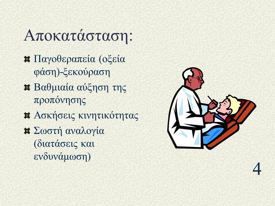 Αποκατάσταση: Παγοθεραπεία (οξεία φάση)-ξεκούραση Βαθμιαία αύξηση της προπόνησης Ασκήσεις κινητικότητας Σωστή αναλογία (διατάσεις και ενδυνάμωση) 4