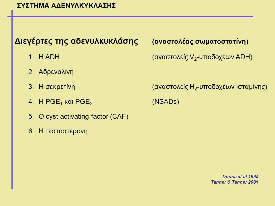 ΣΥΣΤΗΜΑ ΑΔΕΝΥΛΚΥΚΛΑΣΗΣ Διεγέρτες της αδενυλκυκλάσης (αναστολέας σωματοστατίνη) 1.Η ADH(αναστολείς V 2 -υποδοχέων ADH) 2.Αδρεναλίνη 3.Η σεκρετίνη(αναστ
