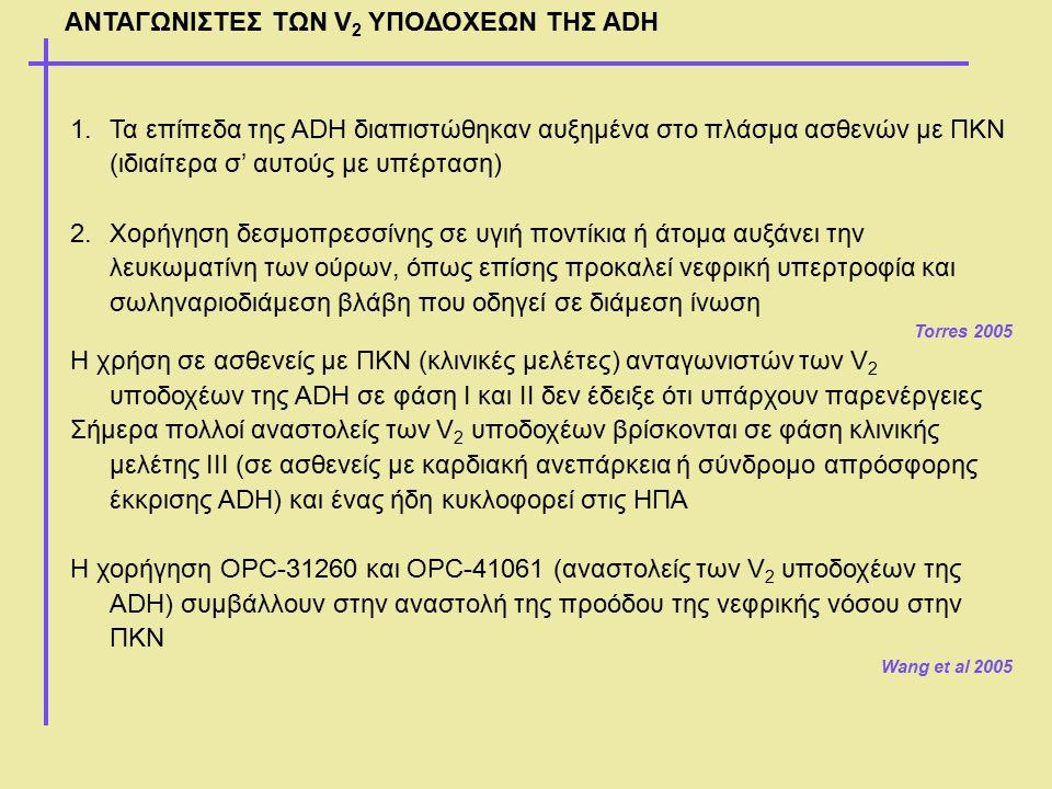 ΑΝΤΑΓΩΝΙΣΤΕΣ ΤΩΝ V 2 ΥΠΟΔΟΧΕΩΝ ΤΗΣ ADH 1.Τα επίπεδα της ADH διαπιστώθηκαν αυξημένα στο πλάσμα ασθενών με ΠΚΝ (ιδιαίτερα σ' αυτούς με υπέρταση) 2.Χορήγ