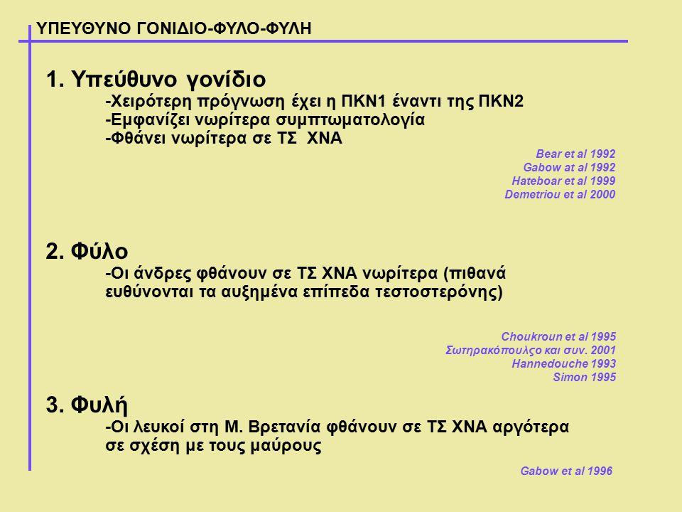 ΥΠΕΥΘΥΝΟ ΓΟΝΙΔΙΟ-ΦΥΛΟ-ΦΥΛΗ 1.Υπεύθυνο γονίδιο -Χειρότερη πρόγνωση έχει η ΠΚΝ1 έναντι της ΠΚΝ2 -Εμφανίζει νωρίτερα συμπτωματολογία -Φθάνει νωρίτερα σε