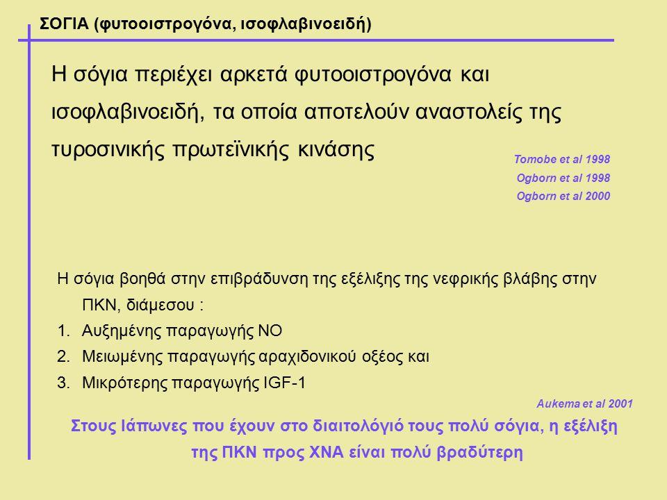 ΣΟΓΙΑ (φυτοοιστρογόνα, ισοφλαβινοειδή) Η σόγια βοηθά στην επιβράδυνση της εξέλιξης της νεφρικής βλάβης στην ΠΚΝ, διάμεσου : 1.Αυξημένης παραγωγής ΝΟ 2