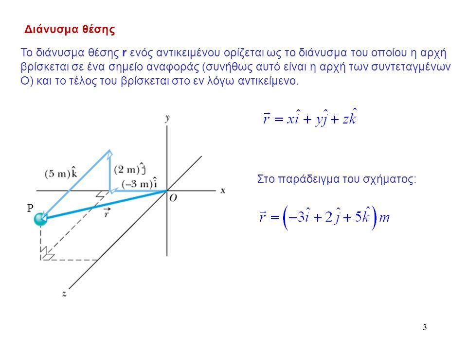 3 Διάνυσμα θέσης P Το διάνυσμα θέσης r ενός αντικειμένου ορίζεται ως το διάνυσμα του οποίου η αρχή βρίσκεται σε ένα σημείο αναφοράς (συνήθως αυτό είνα
