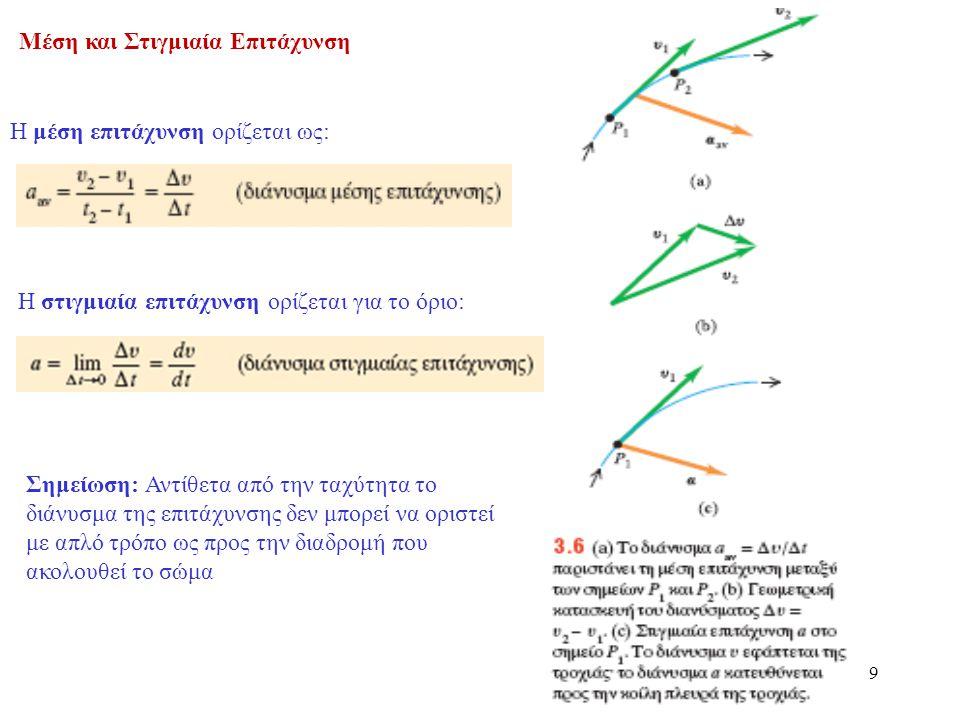 9 Μέση και Στιγμιαία Επιτάχυνση Η μέση επιτάχυνση ορίζεται ως: Σημείωση: Αντίθετα από την ταχύτητα το διάνυσμα της επιτάχυνσης δεν μπορεί να οριστεί μ