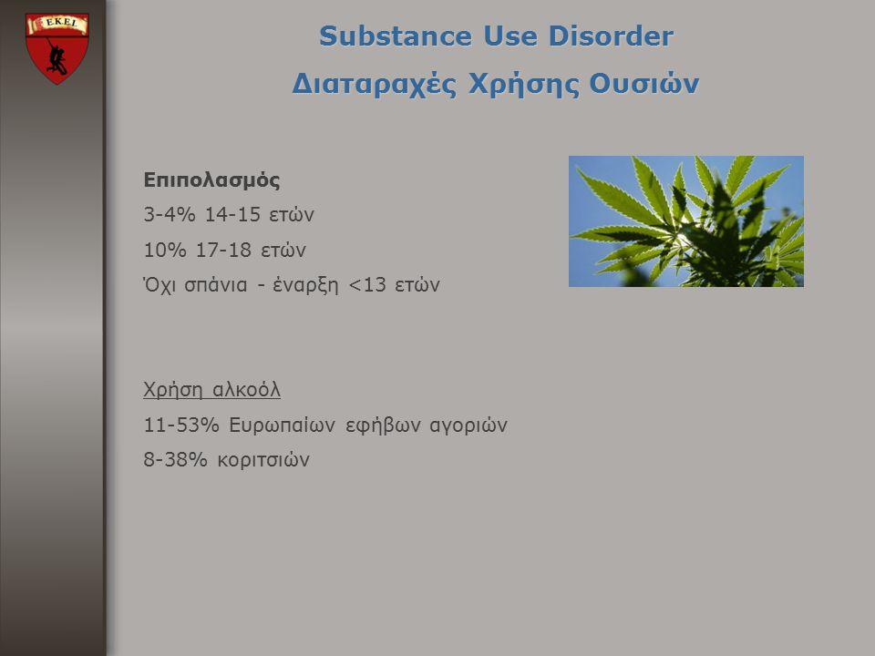 Substance Use Disorder Διαταραχές Χρήσης Ουσιών Επιπολασμός 3-4% 14-15 ετών 10% 17-18 ετών Όχι σπάνια - έναρξη <13 ετών Χρήση αλκοόλ 11-53% Ευρωπαίων