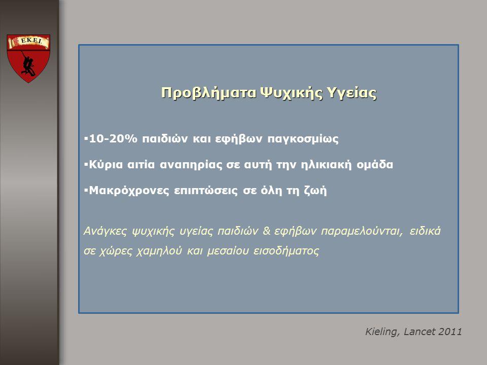 Kieling, Lancet 2011 Προβλήματα Ψυχικής Υγείας  10-20% παιδιών και εφήβων παγκοσμίως  Kύρια αιτία αναπηρίας σε αυτή την ηλικιακή ομάδα  Μακρόχρονες