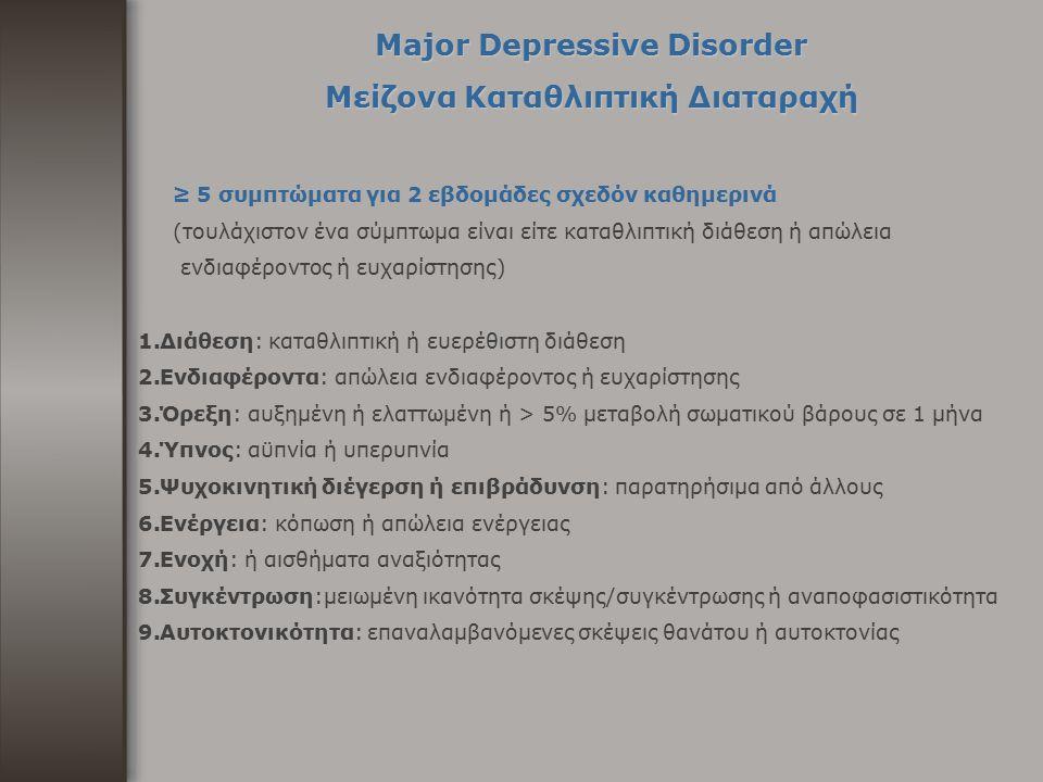 Major Depressive Disorder Μείζονα Καταθλιπτική Διαταραχή ≥ 5 συμπτώματα για 2 εβδομάδες σχεδόν καθημερινά (τουλάχιστον ένα σύμπτωμα είναι είτε καταθλι
