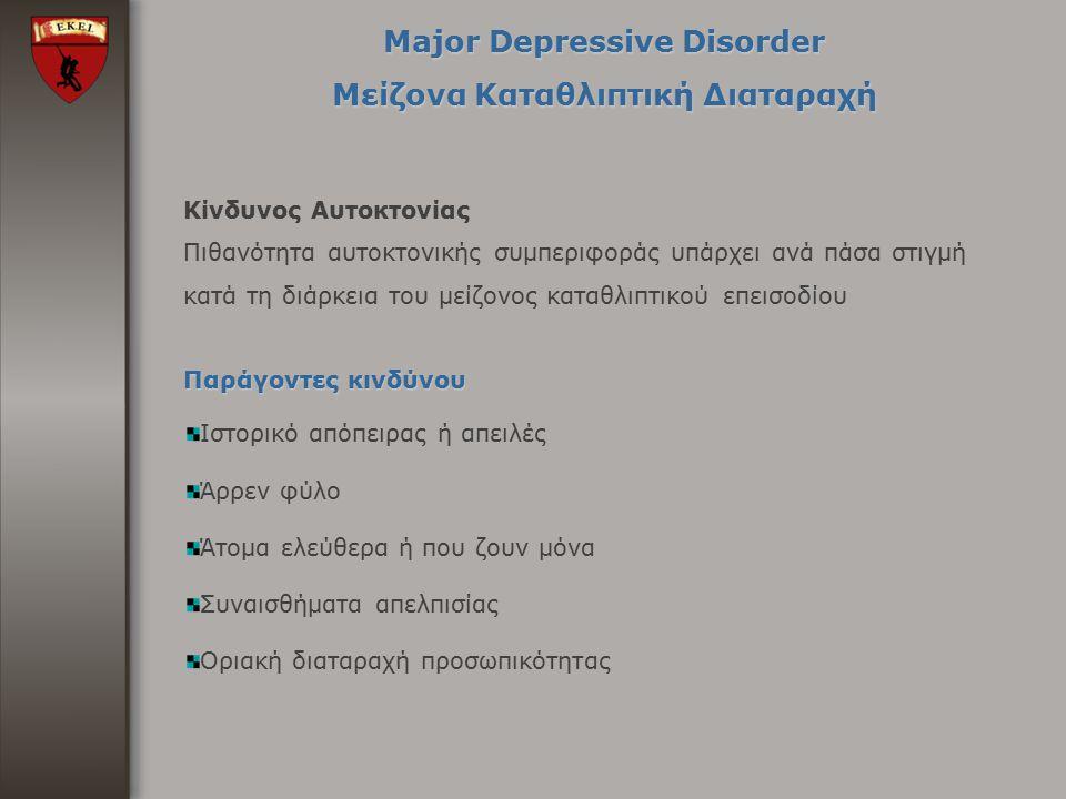 Major Depressive Disorder Μείζονα Καταθλιπτική Διαταραχή Κίνδυνος Αυτοκτονίας Πιθανότητα αυτοκτονικής συμπεριφοράς υπάρχει ανά πάσα στιγμή κατά τη διά