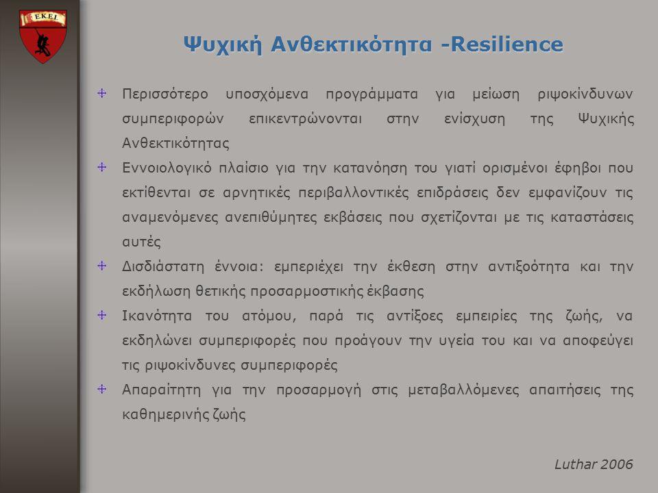 Ψυχική Ανθεκτικότητα -Resilience Περισσότερο υποσχόμενα προγράμματα για μείωση ριψοκίνδυνων συμπεριφορών επικεντρώνονται στην ενίσχυση της Ψυχικής Ανθ