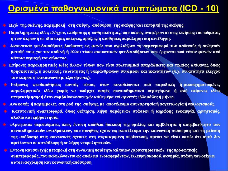 Διαγνωστικά κριτήρια Σχιζοφρένειας κατά D.S.M.Α.