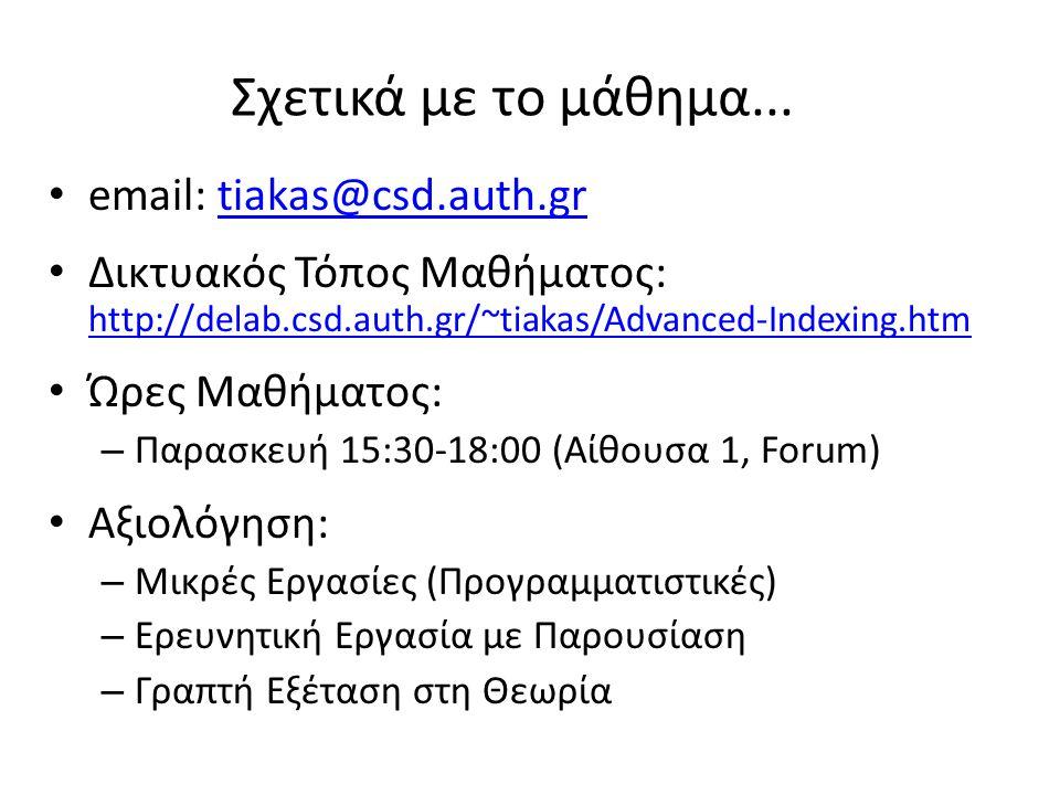 Σχετικά με το μάθημα... email: tiakas@csd.auth.grtiakas@csd.auth.gr Δικτυακός Τόπος Μαθήματος: http://delab.csd.auth.gr/~tiakas/Advanced-Indexing.htm