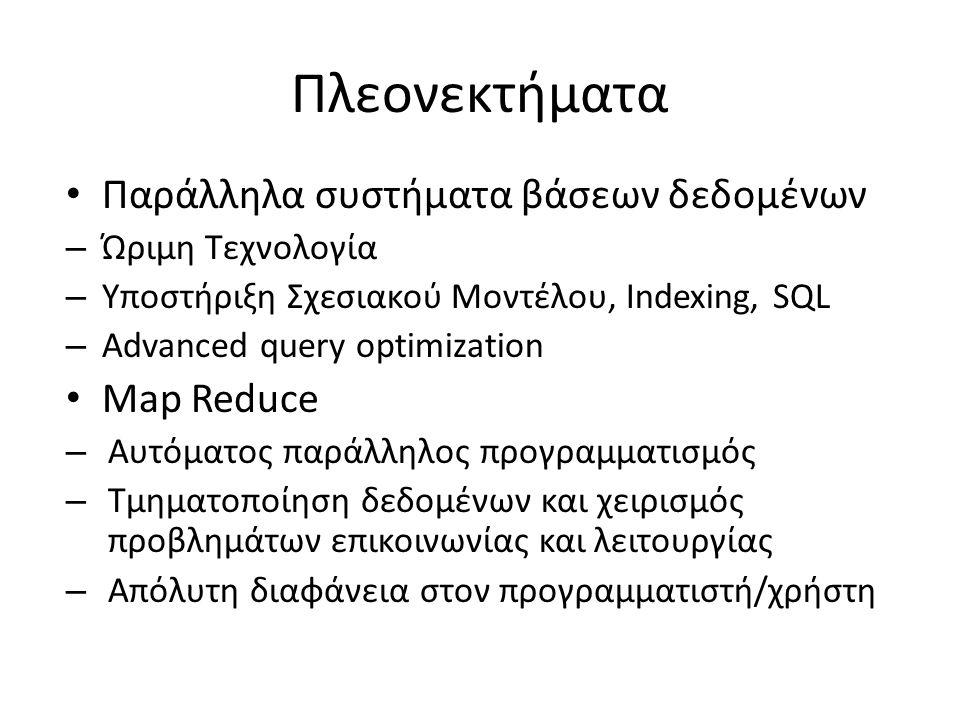 Πλεονεκτήματα Παράλληλα συστήματα βάσεων δεδομένων – Ώριμη Τεχνολογία – Υποστήριξη Σχεσιακού Μοντέλου, Indexing, SQL – Advanced query optimization Map