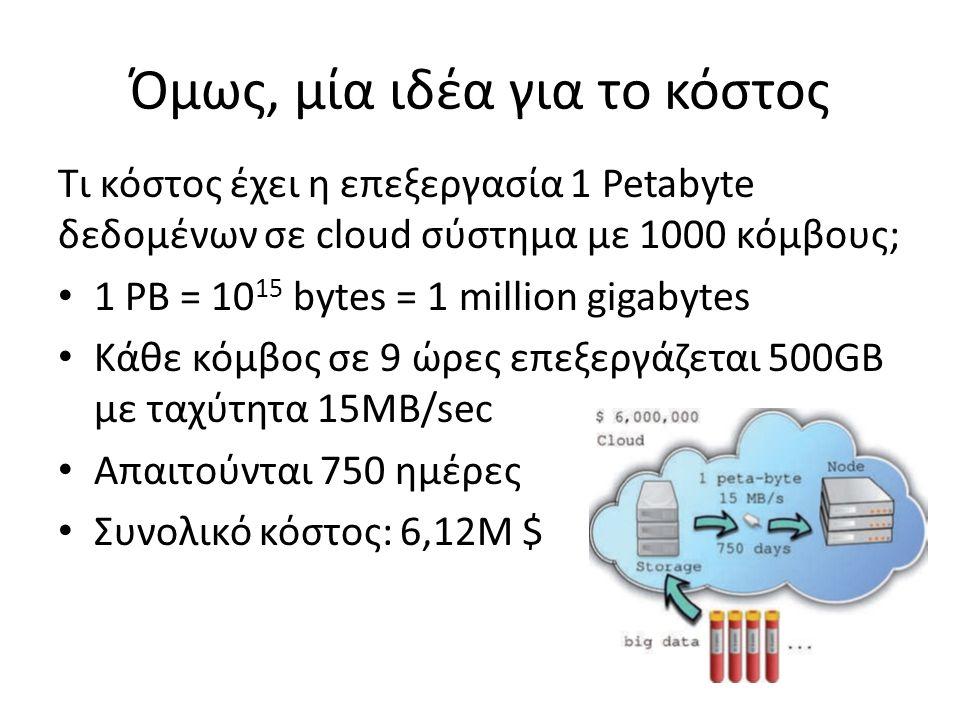 Όμως, μία ιδέα για το κόστος Τι κόστος έχει η επεξεργασία 1 Petabyte δεδομένων σε cloud σύστημα με 1000 κόμβους; 1 PB = 10 15 bytes = 1 million gigaby