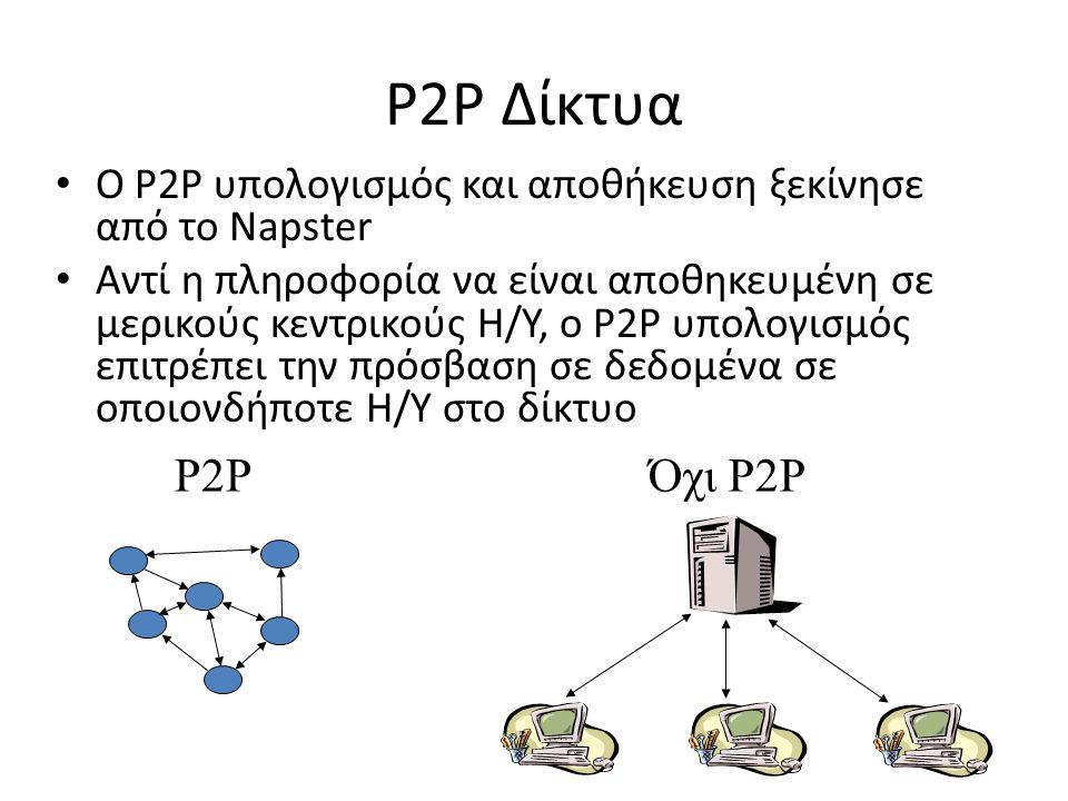 P2P Δίκτυα O P2P υπολογισμός και αποθήκευση ξεκίνησε από το Napster Αντί η πληροφορία να είναι αποθηκευμένη σε μερικούς κεντρικούς Η/Υ, ο P2P υπολογισ