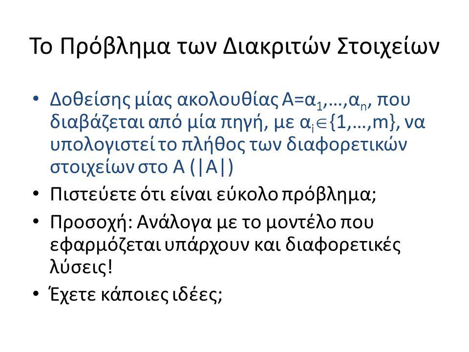 Το Πρόβλημα των Διακριτών Στοιχείων Δοθείσης μίας ακολουθίας Α=α 1,…,α n, που διαβάζεται από μία πηγή, με α i  {1,…,m}, να υπολογιστεί το πλήθος των