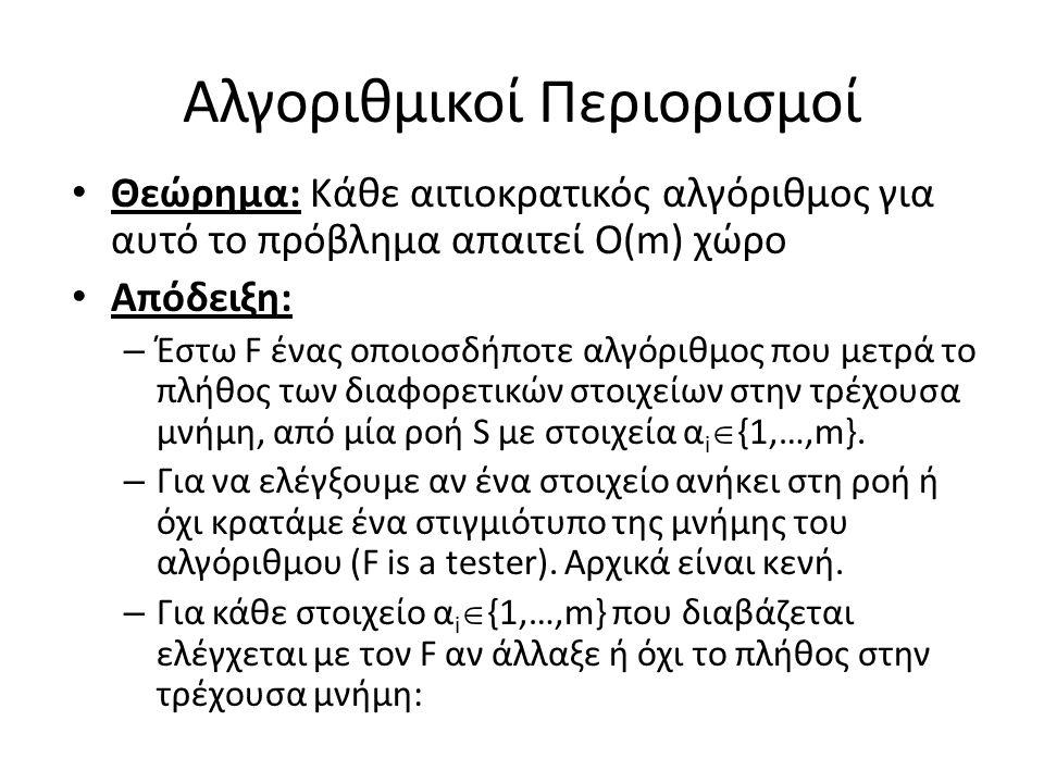 Αλγοριθμικοί Περιορισμοί Θεώρημα: Κάθε αιτιοκρατικός αλγόριθμος για αυτό το πρόβλημα απαιτεί Ο(m) χώρο Απόδειξη: – Έστω F ένας οποιοσδήποτε αλγόριθμος