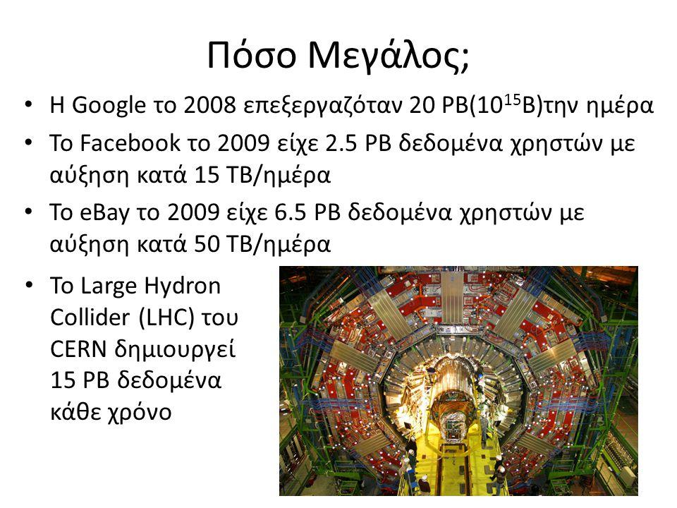 Πόσο Μεγάλος; Η Google το 2008 επεξεργαζόταν 20 PB(10 15 B)την ημέρα Το Facebook το 2009 είχε 2.5 PB δεδομένα χρηστών με αύξηση κατά 15 TB/ημέρα Το eB