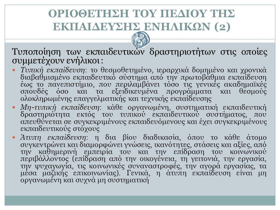 Ο ΘΕΣΜΟΣ ΤΗΣ ΕΚΠΑΙΔΕΥΣΗΣ ΕΝΗΛΙΚΩΝ ΣΤΗΝ ΠΟΡΕΙΑ ΤΟΥ ΧΡΟΝΟΥ (1) Η ιδέα της εκπαίδευσης ενηλίκων ανάγεται στον Πλάτωνα, ο οποίος χρησιμοποίησε τον όρο «δια βίου παιδεία» με την έννοια της συνεχούς προσωπικής ανάπτυξης και της ενεργού πολιτειότητας Ωστόσο, οι πραγματικές αρχές της εκπαίδευσης ενηλίκων, ως θεσμός πια, συμπίπτουν με τις τεχνικές, πολιτικές και οικονομικές εξελίξεις (εκβιομηχανισμός, εκδημοκρατισμός) του 19 ου αι Οι ιστορικές ρίζες της εκπαίδευσης ενηλίκων εντοπίζονται σε τέσσερα μεγάλα κοινωνικά κινήματα: α) στην Ευαγγελική Μεταρρύθμιση, β) στο πνευματικό κίνημα του διαφωτισμού γ) στη δημιουργία του εθνικού κράτους δ) στο εργατικό κίνημα Σημαντικό ρόλο έπαιξε η φιλελεύθερη αστική τάξη αλλά και η εργατική τάξη Κατά τη διάρκεια του Α΄ Παγκοσμίου Πολέμου, ο προσανατολισμός της εκπαίδευσης ενηλίκων ήταν περισσότερο ανθρωπιστικός Κατά το Β΄ Παγκόσμιο Πόλεμο, αποτέλεσε μέσο προπαγάνδας από τις φασιστικές δυνάμεις της Ευρώπης.