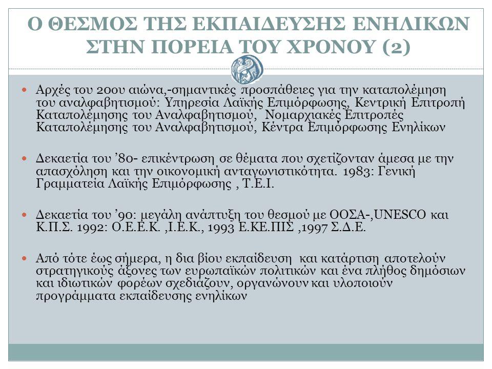 Ο ΘΕΣΜΟΣ ΤΗΣ ΕΚΠΑΙΔΕΥΣΗΣ ΕΝΗΛΙΚΩΝ ΣΤΗΝ ΠΟΡΕΙΑ ΤΟΥ ΧΡΟΝΟΥ (2) Αρχές του 20ου αιώνα,-σημαντικές προσπάθειες για την καταπολέμηση του αναλφαβητισμού: Υπη