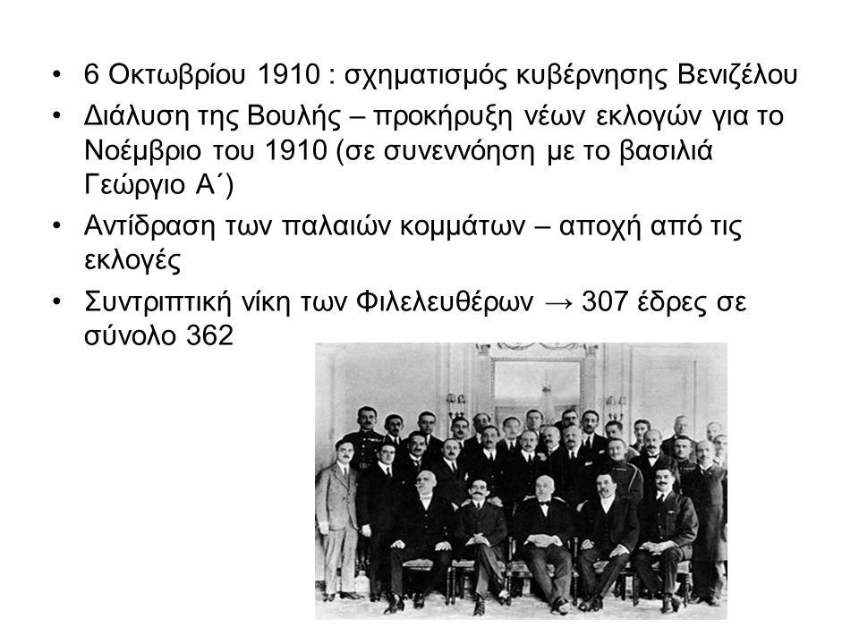 6 Οκτωβρίου 1910 : σχηματισμός κυβέρνησης Βενιζέλου Διάλυση της Βουλής – προκήρυξη νέων εκλογών για το Νοέμβριο του 1910 (σε συνεννόηση με το βασιλιά Γεώργιο Α΄) Αντίδραση των παλαιών κομμάτων – αποχή από τις εκλογές Συντριπτική νίκη των Φιλελευθέρων → 307 έδρες σε σύνολο 362