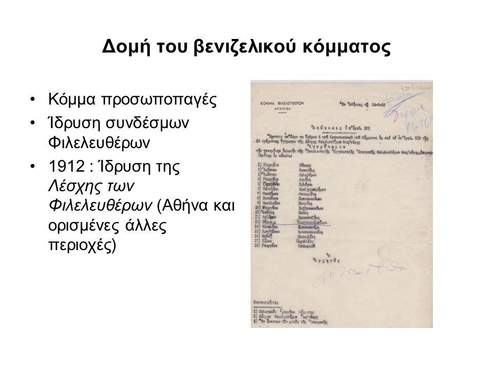 Δομή του βενιζελικού κόμματος Κόμμα προσωποπαγές Ίδρυση συνδέσμων Φιλελευθέρων 1912 : Ίδρυση της Λέσχης των Φιλελευθέρων (Αθήνα και ορισμένες άλλες πε