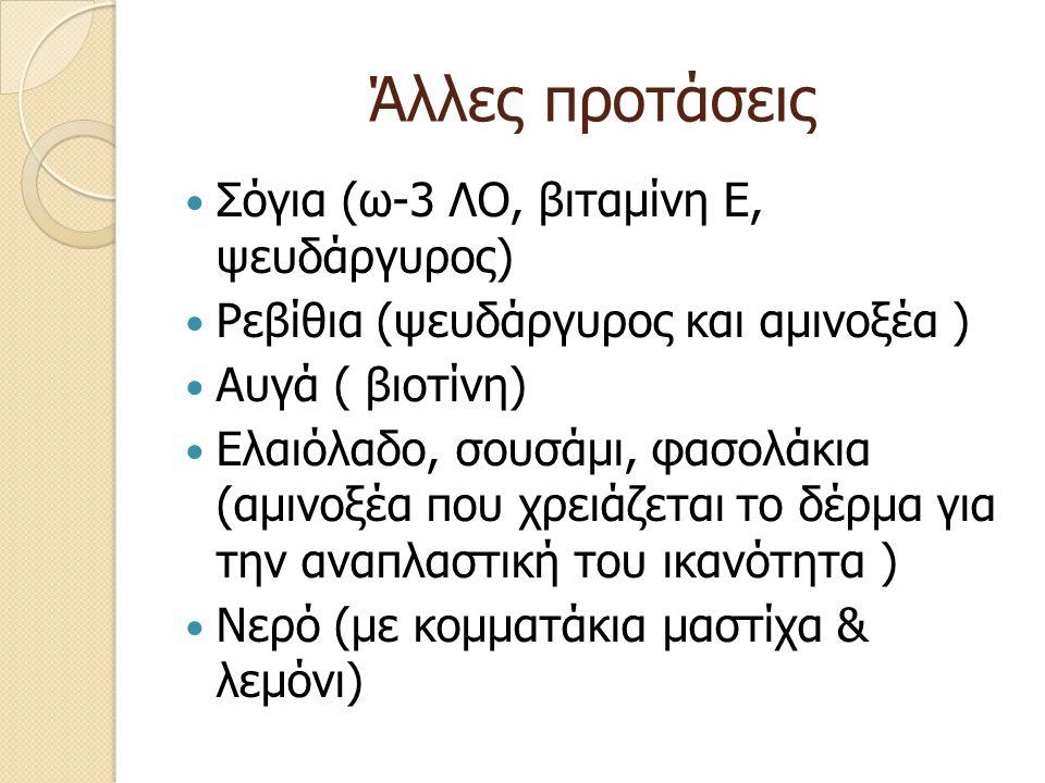 Άλλες προτάσεις Σόγια (ω-3 ΛΟ, βιταμίνη Ε, ψευδάργυρος) Ρεβίθια (ψευδάργυρος και αμινοξέα ) Αυγά ( βιοτίνη) Ελαιόλαδο, σουσάμι, φασολάκια (αμινοξέα πο