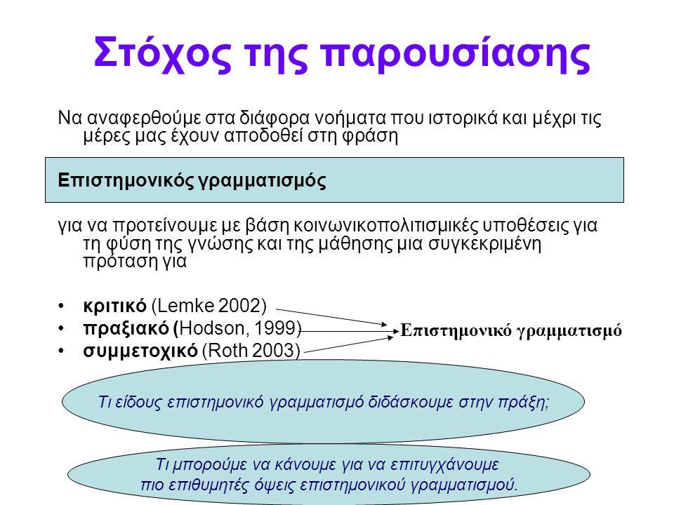 Όψεις επίτευξης επιστημονικού εγγραμματισμού (2) (στ) Δυνατότητα να χρησιμοποιηθεί η επιστημονική γνώση στην επίλυση ενός προβλήματος (AAAS 1989], 1993, NRC 1996)] (ζ) Γνώση που απαιτείται για την μελετημένη συμμετοχή σε διάφορα κοινωνικο- επιστημονικά ζητήματα (CMEC 1997, Millar & Osborne 1998, NRC 1996) (η) Κατανόηση της φύσης της επιστήμης, συμπεριλαμβανομένων των σχέσεών της με τον πολιτισμό (DeBoer 2000, Hanrahan 1999, Norman 1998) (θ) Εκτίμηση της επιστήμης και των δυνατοτήτων της, ανάπτυξη της επιστημονικής νοοτροπίας (CMEC, 1997 Millar&Osborne 1998, Shamos, 1995 Shen, 1975) (ι) Γνώση των κινδύνων και των ωφελειών της επιστήμης (Shamos, 1995) ή (κ) Δυνατότητα κριτικής σκέψης για την επιστήμη και να εξεταστεί η επιστημονική πείρα (Korpan et Al 1997, Shamos 1995).