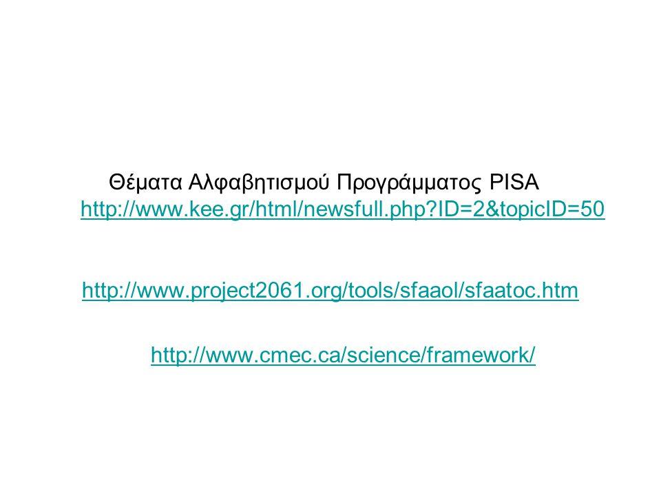 Θέματα Αλφαβητισμού Προγράμματος PISA http://www.kee.gr/html/newsfull.php?ID=2&topicID=50 http://www.kee.gr/html/newsfull.php?ID=2&topicID=50 http://w