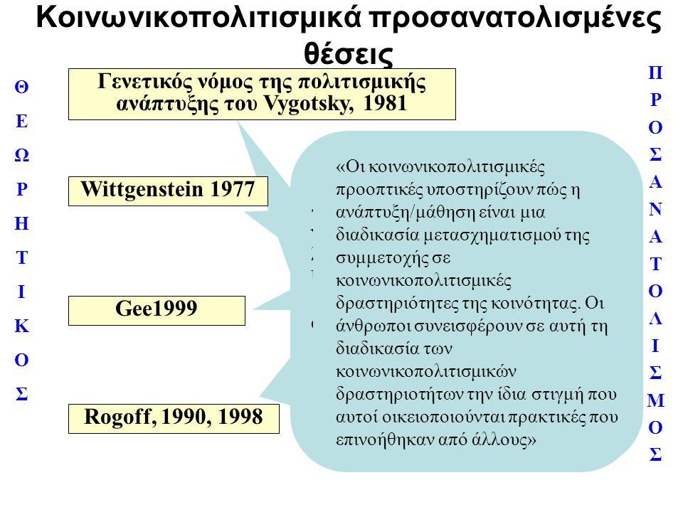 Κοινωνικοπολιτισμικά προσανατολισμένες θέσεις ΠΡΟΣΑΝΑΤΟΛΙΣΜΟΣΠΡΟΣΑΝΑΤΟΛΙΣΜΟΣ ΘΕΩΡΗΤΙΚΟΣΘΕΩΡΗΤΙΚΟΣ Γενετικός νόμος της πολιτισμικής ανάπτυξης του Vygot