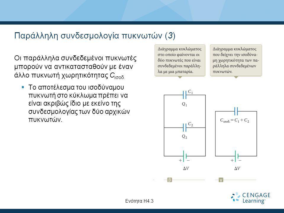 Παράλληλη συνδεσμολογία πυκνωτών (3) Οι παράλληλα συνδεδεμένοι πυκνωτές μπορούν να αντικατασταθούν με έναν άλλο πυκνωτή χωρητικότητας C ισοδ.  Το απο