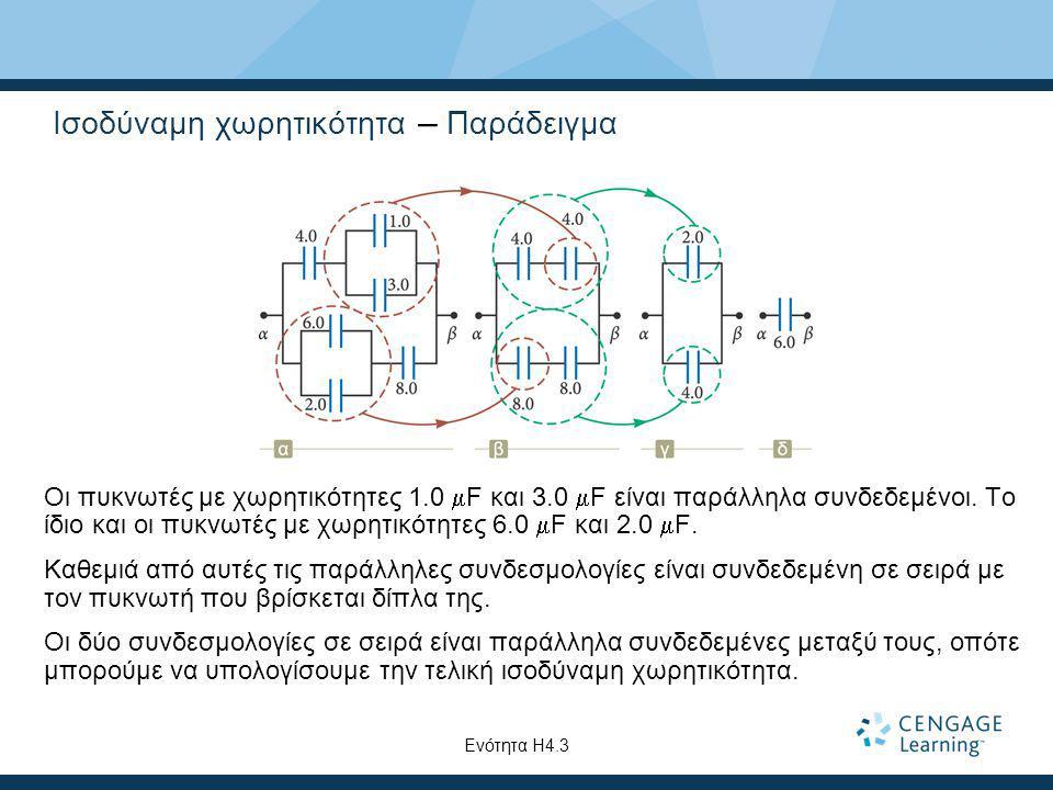 Ισοδύναμη χωρητικότητα – Παράδειγμα Οι πυκνωτές με χωρητικότητες 1.0  F και 3.0  F είναι παράλληλα συνδεδεμένοι. Το ίδιο και οι πυκνωτές με χωρητικό