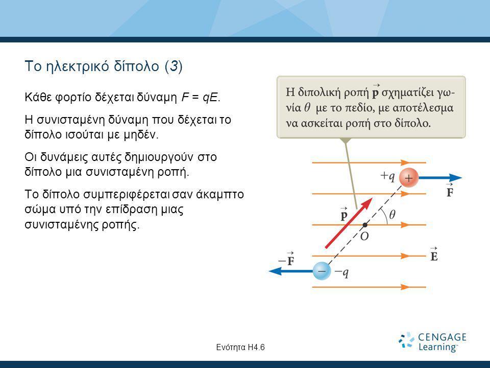 Το ηλεκτρικό δίπολο (3) Κάθε φορτίο δέχεται δύναμη F = qE. Η συνισταμένη δύναμη που δέχεται το δίπολο ισούται με μηδέν. Οι δυνάμεις αυτές δημιουργούν