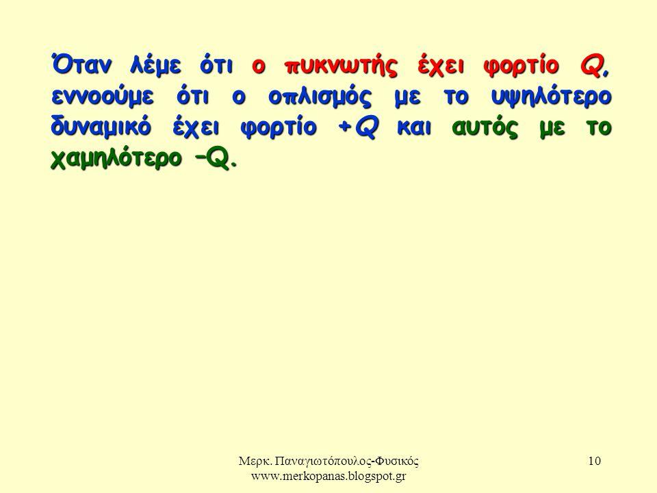 Μερκ. Παναγιωτόπουλος-Φυσικός www.merkopanas.blogspot.gr 10 Όταν λέμε ότι ο πυκνωτής έχει φορτίο Q, εννοούμε ότι ο οπλισμός με το υψηλότερο δυναμικό έ