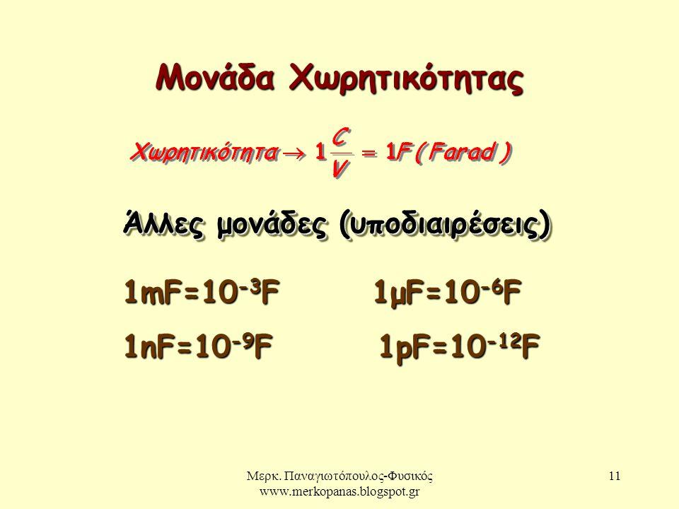 Μερκ. Παναγιωτόπουλος-Φυσικός www.merkopanas.blogspot.gr 11 Μονάδα Χωρητικότητας Άλλες μονάδες (υποδιαιρέσεις) 1mF=10 -3 F 1μF=10 -6 F 1nF=10 -9 F 1pF