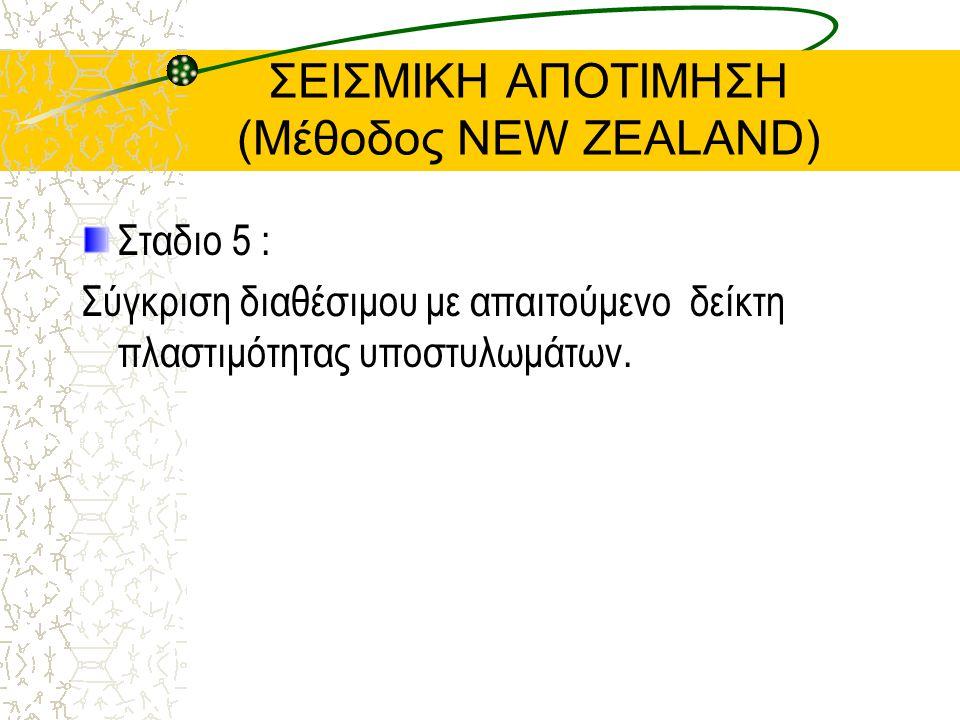 ΣΕΙΣΜΙΚΗ ΑΠΟΤΙΜΗΣΗ (Μέθοδος NEW ZEALAND) Σταδιο 5 : Σύγκριση διαθέσιμου με απαιτούμενο δείκτη πλαστιμότητας υποστυλωμάτων.