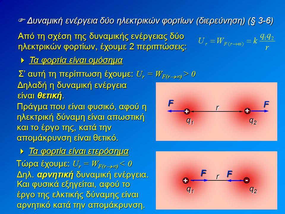  Δυναμική ενέργεια δύο ηλεκτρικών φορτίων (διερεύνηση) (§ 3-6) Από τη σχέση της δυναμικής ενέργειας δύο ηλεκτρικών φορτίων, έχουμε 2 περιπτώσεις:  Τ