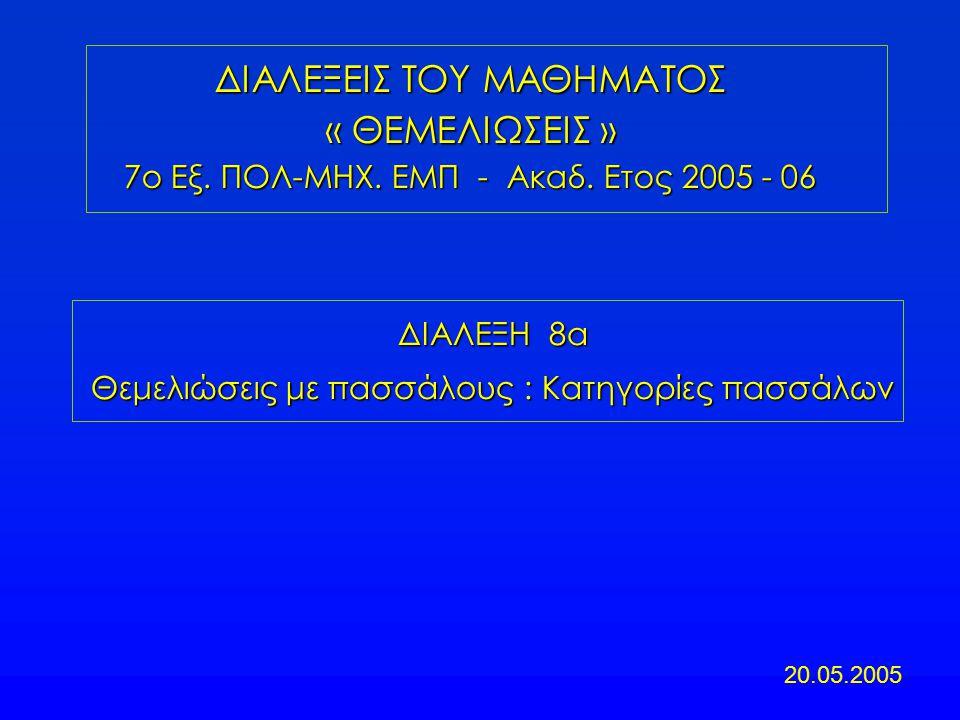 ΔΙΑΛΕΞΗ 8α Θεμελιώσεις με πασσάλους : Κατηγορίες πασσάλων ΔΙΑΛΕΞΕΙΣ ΤΟΥ ΜΑΘΗΜΑΤΟΣ « ΘΕΜΕΛΙΩΣΕΙΣ » 7ο Εξ. ΠΟΛ-ΜΗΧ. ΕΜΠ - Ακαδ. Ετος 2005 - 06 20.05.200