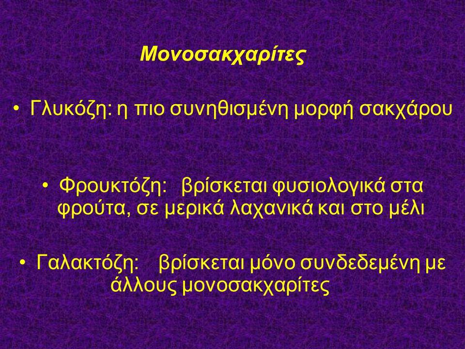 Μονοσακχαρίτες Γλυκόζη: η πιο συνηθισμένη μορφή σακχάρου Φρουκτόζη: βρίσκεται φυσιολογικά στα φρούτα, σε μερικά λαχανικά και στο μέλι Γαλακτόζη: βρίσκ