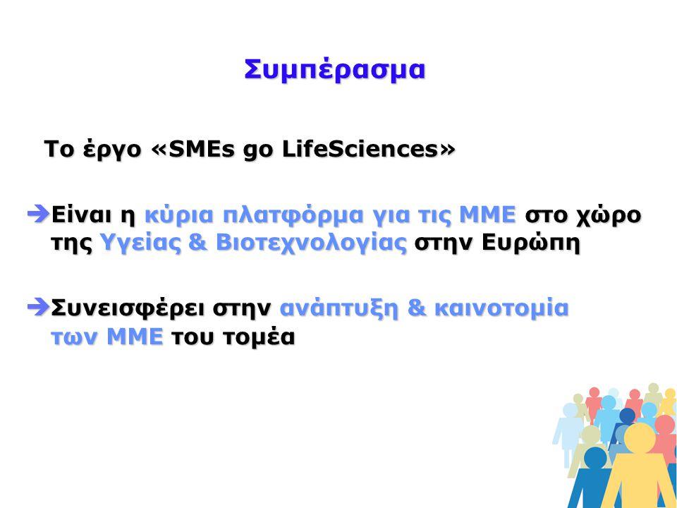Συμπέρασμα Το έργο «SMEs go LifeSciences»  Είναι η κύρια πλατφόρμα για τις ΜΜΕ στο χώρο της Υγείας & Βιοτεχνολογίας στην Ευρώπη  Συνεισφέρει στην ανάπτυξη & καινοτομία των ΜΜΕ του τομέα