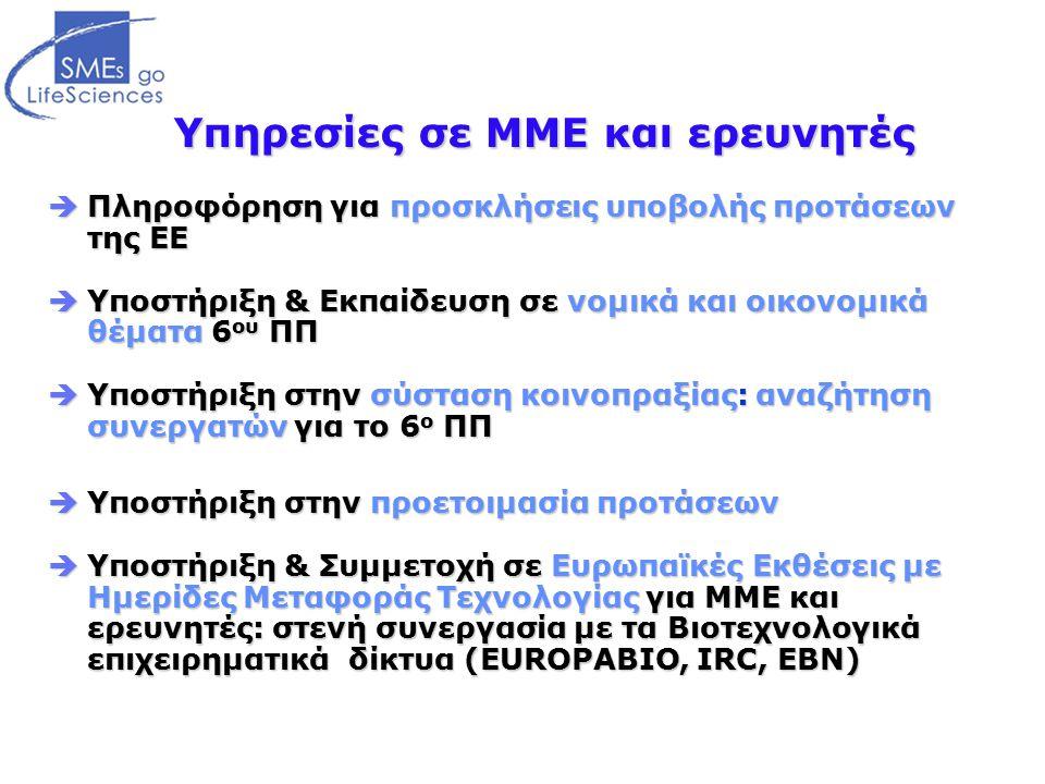 Υπηρεσίες σε ΜΜΕ και ερευνητές  Πληροφόρηση για προσκλήσεις υποβολής προτάσεων της ΕΕ  Υποστήριξη & Εκπαίδευση σε νομικά και οικονομικά θέματα 6 ου