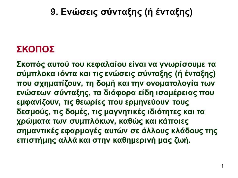 62 Η θεωρία του κρυσταλλικού πεδίου Ποιες δυνατότητες σχηματισμού δεσμών έχουν τα ιόντα των ΜΜ με δομή d 4, d 5, d 6 ή d 7 ; π.χ.