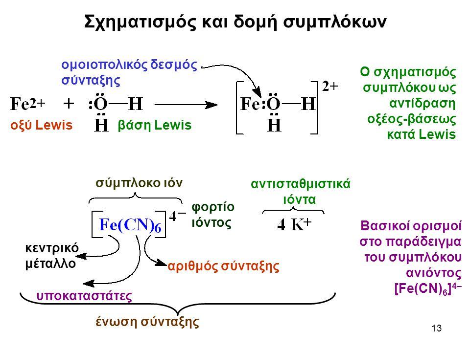 13 ομοιοπολικός δεσμός σύνταξης οξύ Lewisβάση Lewis Ο σχηματισμός συμπλόκου ως αντίδραση οξέος-βάσεως κατά Lewis σύμπλοκο ιόν αντισταθμιστικά ιόντα αρ