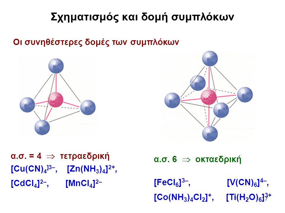 17 Σχηματισμός και δομή συμπλόκων Oι συνηθέστερες δομές των συμπλόκων α.σ. = 4  τετραεδρική [Cu(CN) 4 ]3–, [Zn(NH 3 ) 4 ] 2+, [CdCl 4 ] 2–, [MnCl 4 ]
